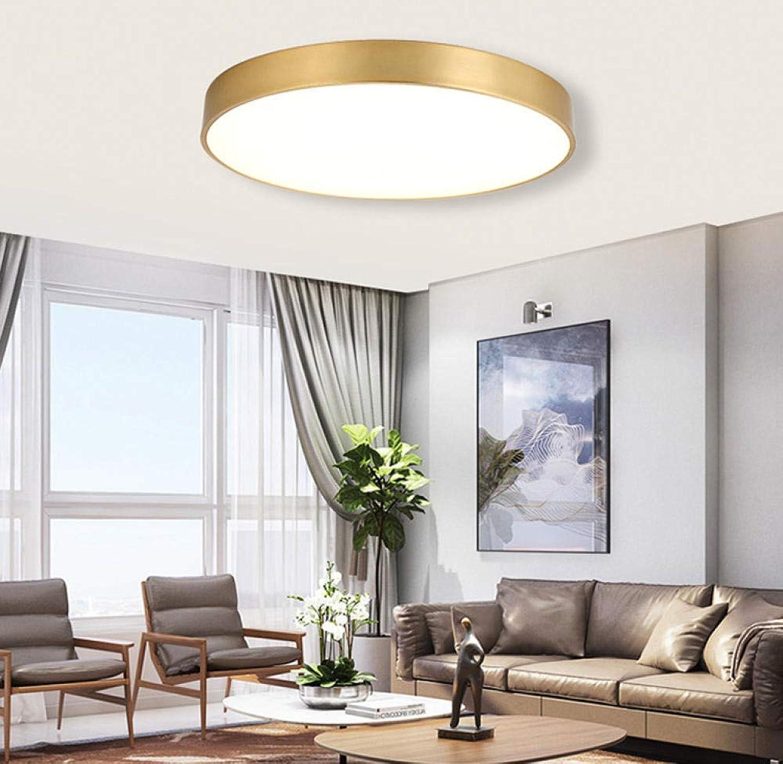 Plafonnier rond ultra-mince led moderne minimaliste en fer forgé cuivre or lampe de plafond salon éclairage de salle de séjour, gradation 60cm48w_ triCouleure
