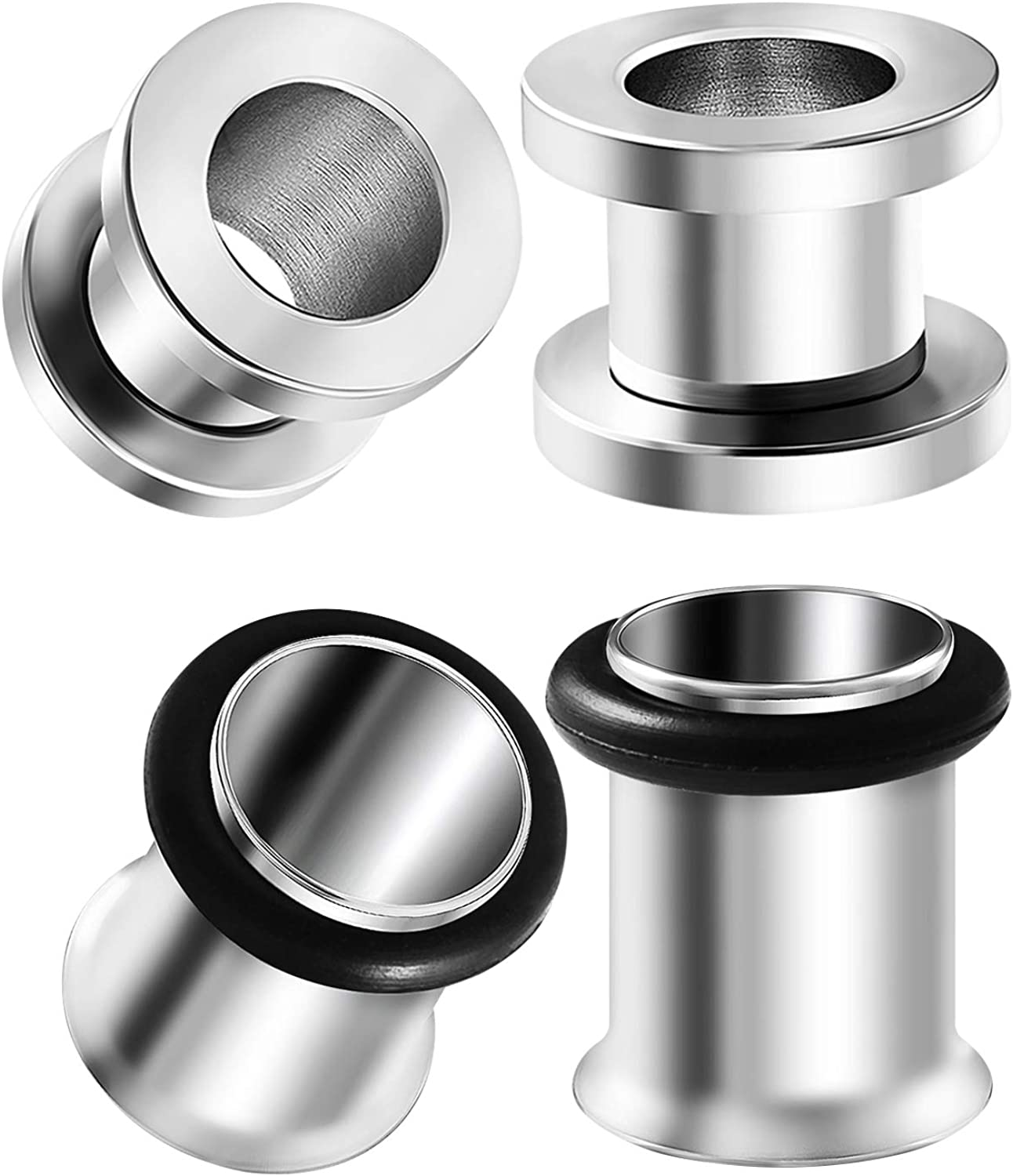 BIG GAUGES 2 Pairs 316L Surgical Steel Single Flared O-Ring Piercing Jewelry Stretcher Ear Screw Flesh Tunnel Lobe Earring Plugs