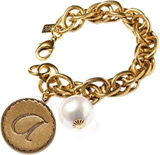 Rope Chain Initial Coin Bracelet With Pearl, 8-8.5