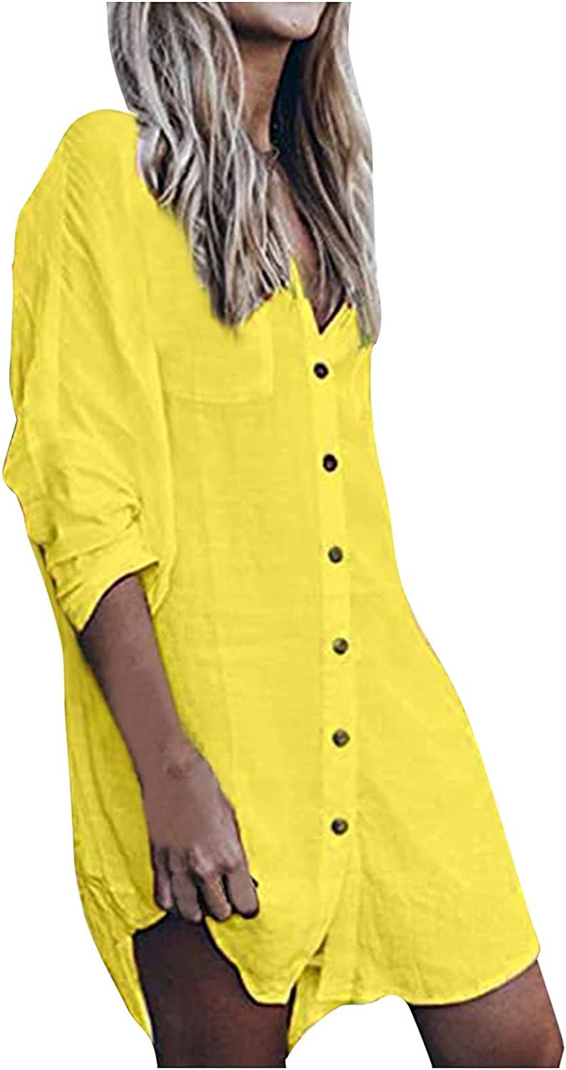 Dresses Women Casual,Women Summer Dresses,Women's Fashion Casual Solid Button V Neck with Pocket Long Sleeve Blouse Dress