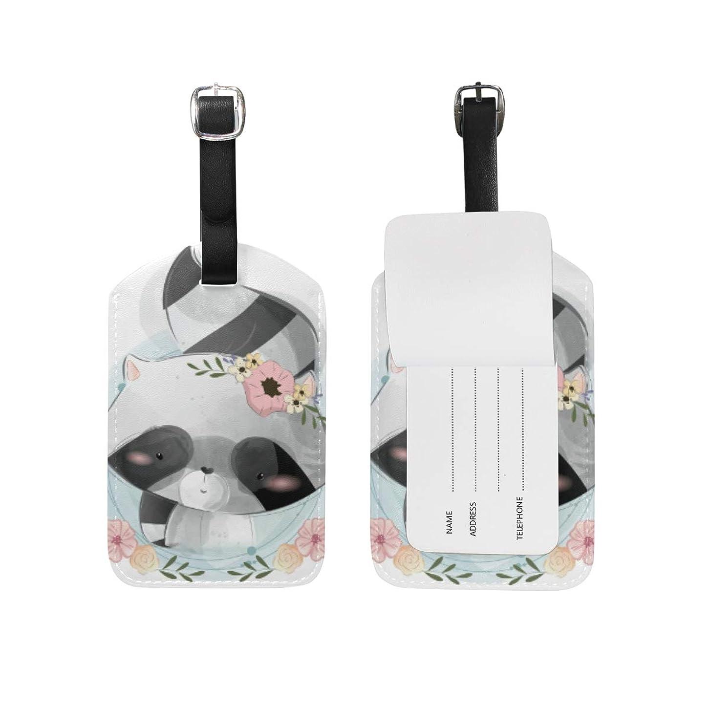 できた処分したスクリューかわいい赤ちゃんアライグマ レザー 荷物 タグ トラベル カード バッグ ID ラベル (2個)