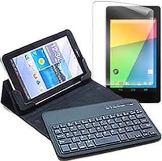 メディアカバーマーケット Google Nexus 7【7.02インチ(1920x1200)】機種用 【Bluetoothワイヤレスキーボード付き タブレットケース と 指紋防止 クリア 光沢 液晶保護フィルム のセット】