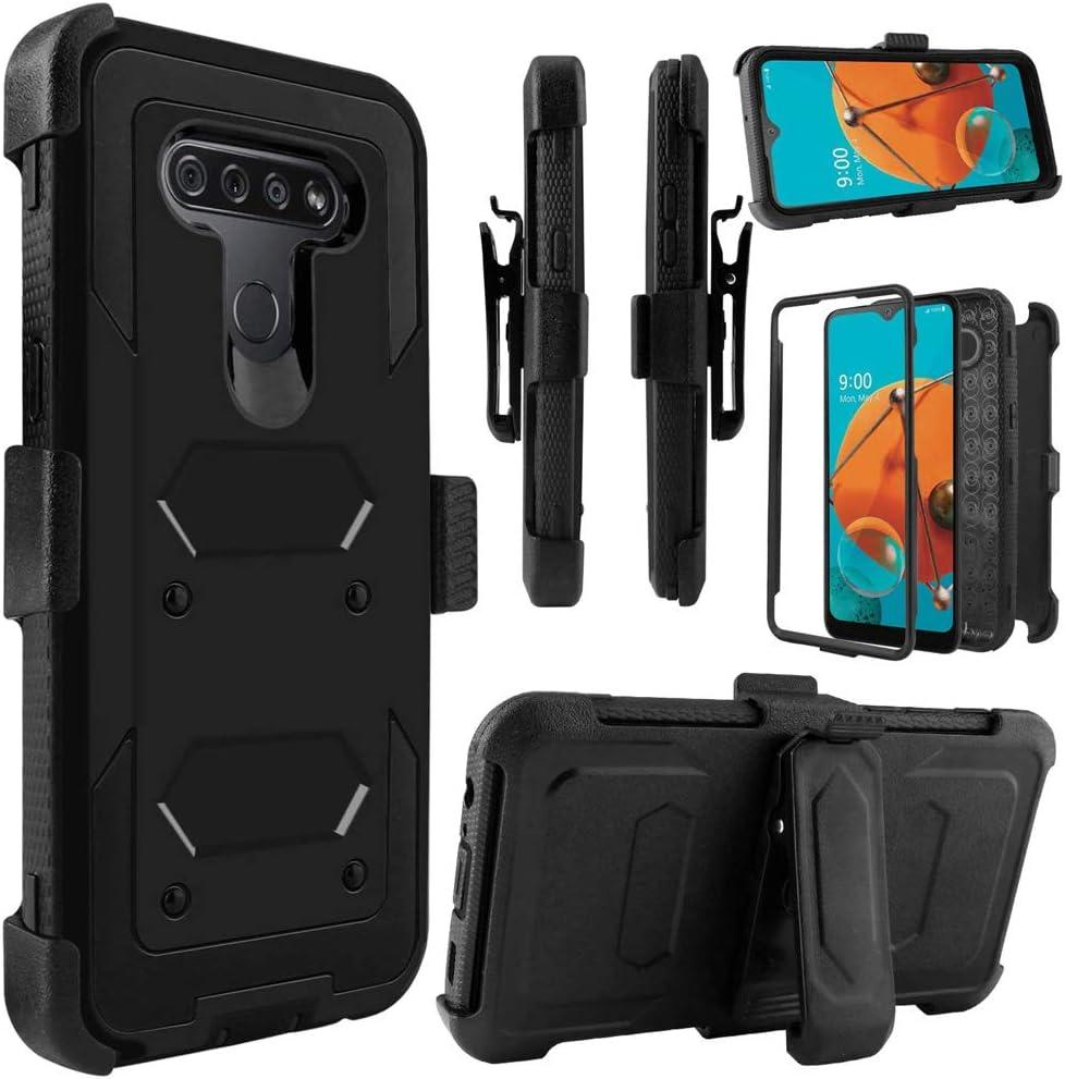 Telegaming Holster Case for LG K51, LG Q51/ LG Reflect Phone Case with Belt Clip Screen Protector, Heavy Duty Shock Absorption Hybrid Amor Cover for Women Men Girls Boys -Black