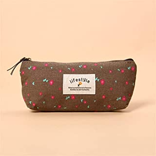 Large Capacity Pencil Case for Boys and Girls 1 PC Hot Sale Small Floral Pencil Case Canvas Storage Pouch Pen Bag Small Fresh Canvas Zipper Pencil Box Office Supplies (Color : Coffee)