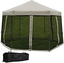 Sunnydaze Penthouse Hexagon Gazebo, Quick-Up Instant Outdoor Patio Canopy with Mesh Screen Sides and Rolling Bag, 12 Foot, Grey