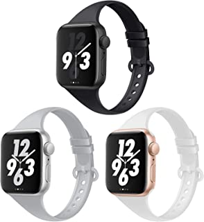 Acrbiutu Bands Compatible with Apple Watch 38mm 40mm 42mm 44mm, 3 Pack Thin Slim Narrow Replacement Soft Silicone Sport Ac...