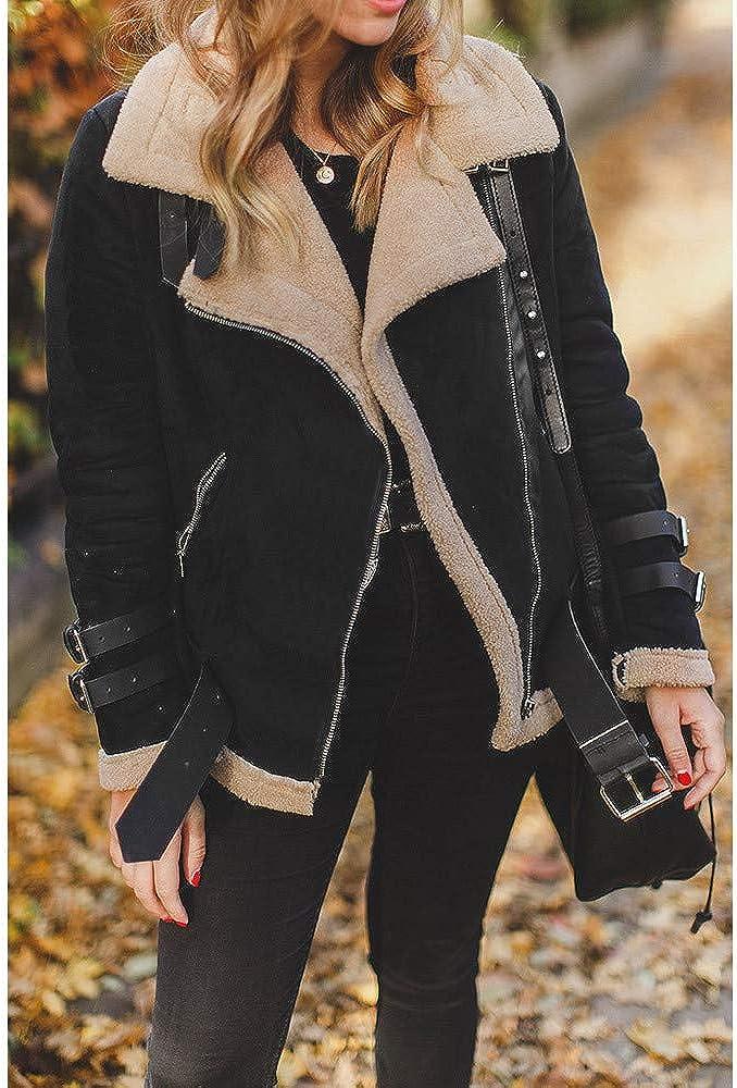 Hirolan Mäntel Winter Frau Kunstpelz Fleece-Mantel Outwear Warm Revers Radfahrer Motor Fliegerjacke Mode Wildleder Kaschmirschafe Pelz Baumwollmantel Oben Jacke Schwarz