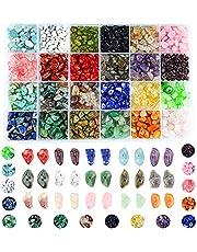Colle Siersteenkralen, onregelmatige kralen van stukjes steen, set natuursteen van helend kristal, losse doe-het-zelf kralen voor het maken van sieraden, kettingen, armbanden en ringen (24 kleuren)
