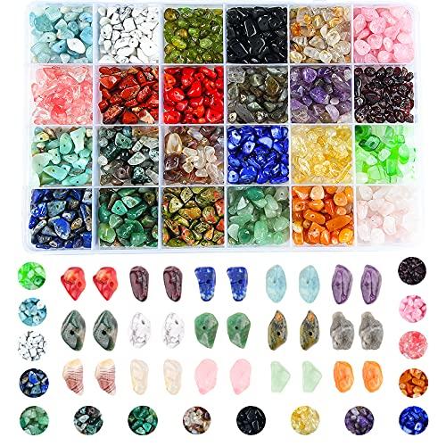 Colle Lote de cuentas de piedras preciosas irregulares pequeñas - Piedras curativas naturales - Cuentas sueltas para hacer joyas, collares, pulseras, anillos (24 colores)