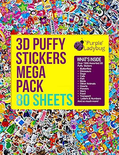 Pegatinas en Relieve 3D para Niños de Purple Ladybug - Gran Lote de 80 Hojas Todas Diferentes y más de 2000 Stickers - Calcomanías de Animales, Letras, Números, Estrellas y Mucho Más