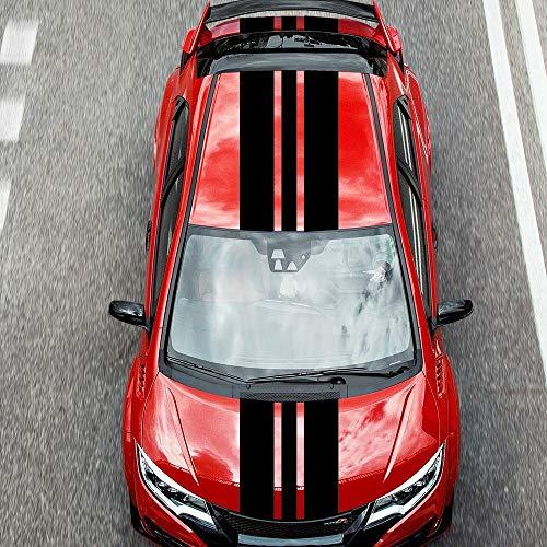 Rallystreifen und Seitenstreifen 400x20 & 2 mal 400x10 Folienstreifen Autofolie Folie Streifen Aufkleber Selbstklebend - Schwarz Glanz - 2 Stück