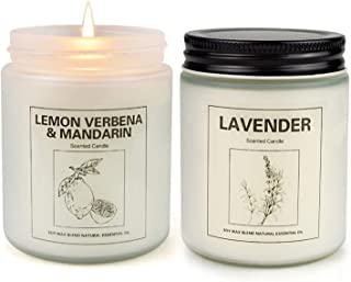 Lemon Verbena and Lavender Candles for Home Scented, Aromatherapy Candle 2 pcs, Soy Wax Candle Set, Women Gift with Strong...