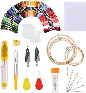 مجموعة أدوات الخياطة والتطريز اليدوي مع ملقط للنساء مكون من 50 لون