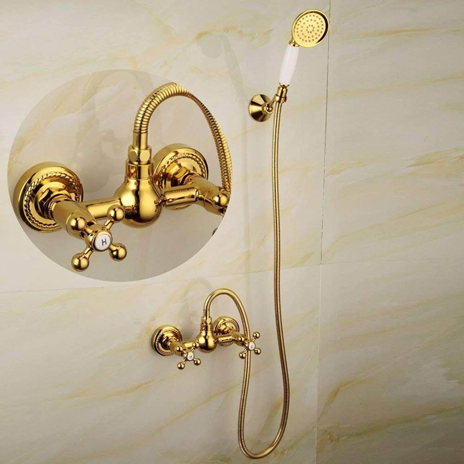 FFWFW shower set European Style gold Simple Shower Shower Full Copper Into the Wall Handheld Bathtub Shower Set