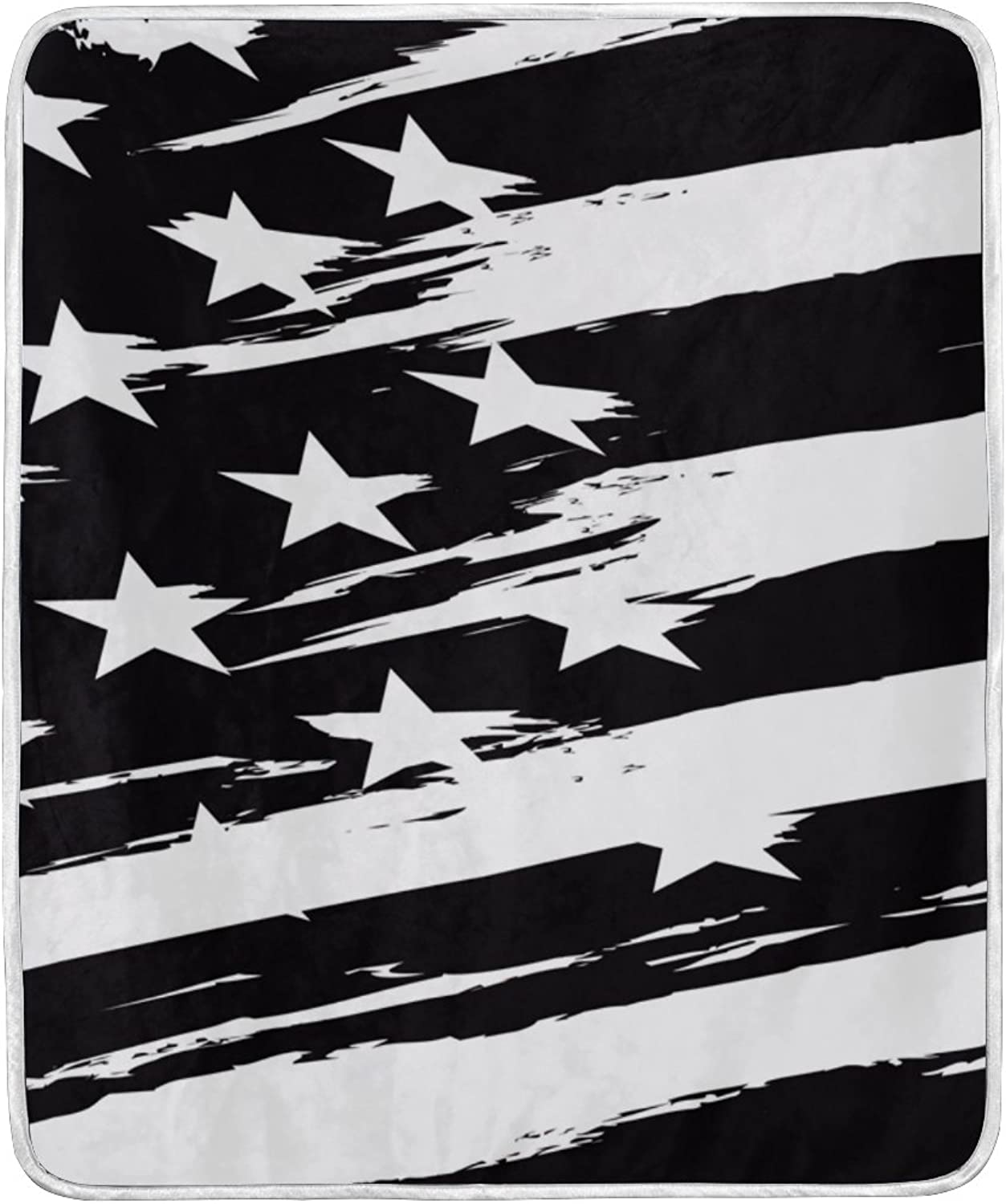 ALIREA Black And White American Flag Super Soft Warm Blanket Lightweight Throw Blankets for Bed Couch Sofa Travelling Camping 60 x 50 Inch for Kids Boys Girls
