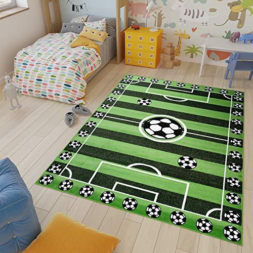 Tapiso Kinder New Alfombra Cuarto de Niños Sala de Juegos Estilo Moderno Verde Blanco Campo de Fútbol Fina 240 x 330 cm