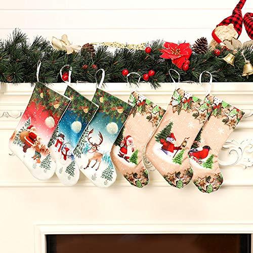 Ameiqa Personalisierter Weihnachtsstrumpf,Hängende Strümpfe für Weihnachtsdeko - 6Packs / 30CM