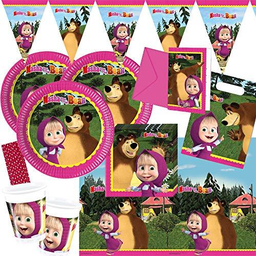 spielum Juego de 58 piezas para fiesta de Mascha y el oso, platos, vasos, servilletas, mantel, invitaciones, bolsas de fiesta, banderines, pajitas, para 6-8 niños