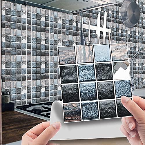 Hiser 30 Piezas Adhesivos Azulejos Pegatinas para Baldosas del Baño/Cocina 3D Impresión de Mosaico - Mármol Clásico Resistente al Agua Pegatina de Pared Decorativos 10x10cm (Azul Acero)