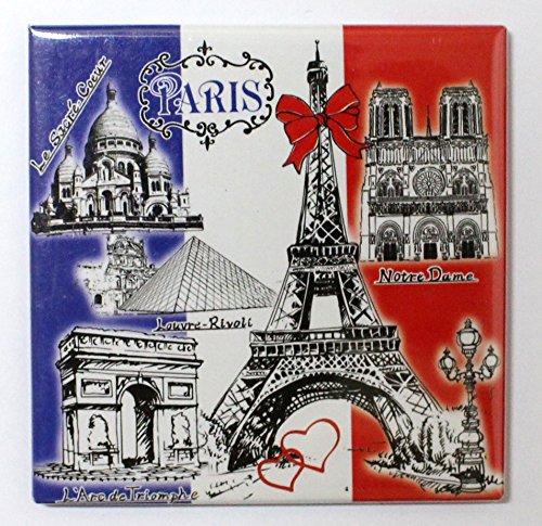 AKER Magnet Aimant frigo MGE14 Cuisine Souvenir France Paris Cadeaux Tour Eiffel 8,5X8,5 cm