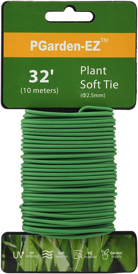 Plant Ties - 32.8ft Soft Twist Ties Green TPR Garden Ties Supply, for Supporting Plants Tomatoes Office Home Organizing