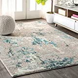 JONATHAN Y Contemporary POP Modern Abstract Vintage Faded Gray/Blue 8 ft. x 10 ft. Area Rug, Bohemian, Easy Cleaning, For Bedroom, Kitchen, Living Room, Non Shedding