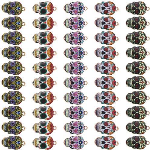 MILISTEN 50Pcs Ciondolo Teschio Lega Smalto Decorativo Teschio di Zucchero Messicano Artigianato Fai da Te Charms Ciondolo in Metallo Charms per Orecchini Collana Braccialetto