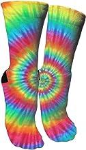 ULQUIEOR Women's Rainbow Tie Dye Cotton Performance Cushion Novelty Athletic Soprt Crew Socks