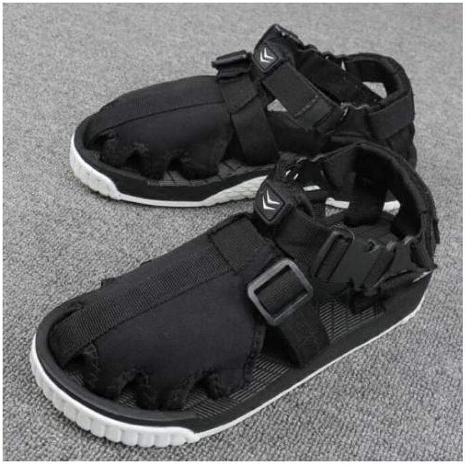 FidgetFidget Mens Sandals Closed Toe Sports Black Beach Outdoor Summer Casual Athletic shoes