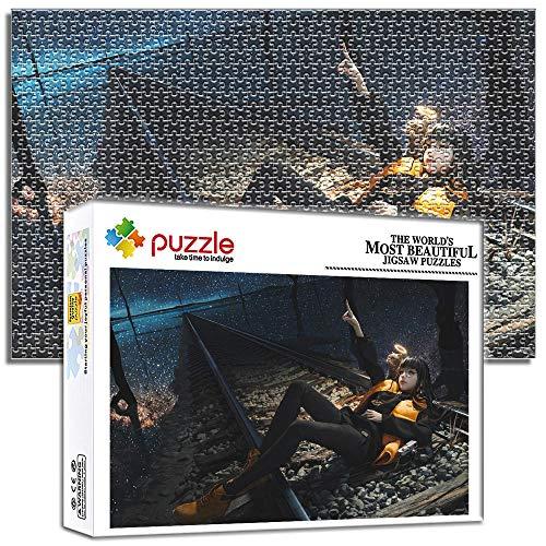 Generichaoge Puzzles Juguete para Adultos Belleza Y Gato Cielo Estrellado Vías del Tren. 1000 Piezas Puzzles 1000 Piezas Niños Descompresión Y Regalo Decoración del Hogar 38 X 26 Cm