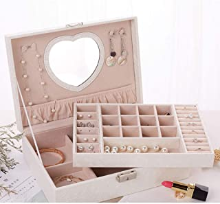 Jewelry Cases Pu Leather Green Double-Layer Wooden Princess Jewelry Storage Box Cosmetic Case,White