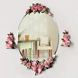 MXD Mirror Bathroom Mirror Waterproof and Moisture-Proof Fashion Pink Rose Wall Mirror Dressing Mirror