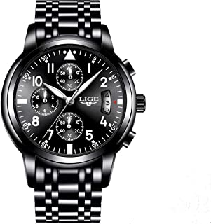 LIGE 9825 Men's Watches Stainless Steel Quartz Watch, Noctilucent, Waterproof, Sports and Fashion Watches