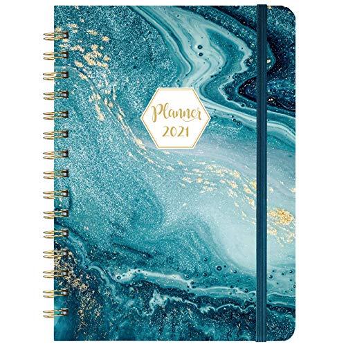 Agenda 2021 - Planificador semanal y mensual con pestañas, 21,5 x 16,5 cm, tapa dura con papel grueso + bolsillo trasero - dorado azul