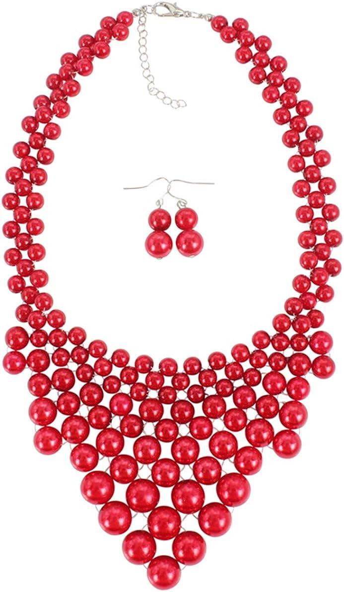 Lyhcside Choker Statement Necklace Earrings Womens Fashion Statement Jewelry Set