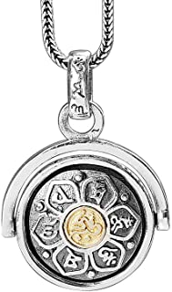 LOVECOM 925 Sterling Silver Rotating Charm Pendants for Women Mother Men Buddhism Wisdom Mercy Gifts (Pendant)