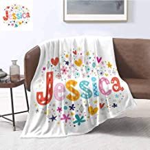 Luoiaax Jessica Comfortable Large Blanket Retro Colorful Motifs Swirls Chevron Zigzags and Happy Hearts Ornate Dots Backdrop Microfiber Blanket Bed Sofa or Travel W55 x L55 Inch Multicolor