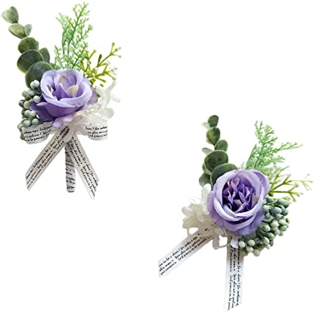 Sunflower and Mini Purple Rose Wrist Corsage Wedding Corsage and Boutonniere Silk Flower Sets Flower Girl Corsage