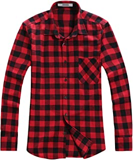 OCHENTA Men's Button Down Plaid Flannel Shirt, Long Sleeve Casual Tops