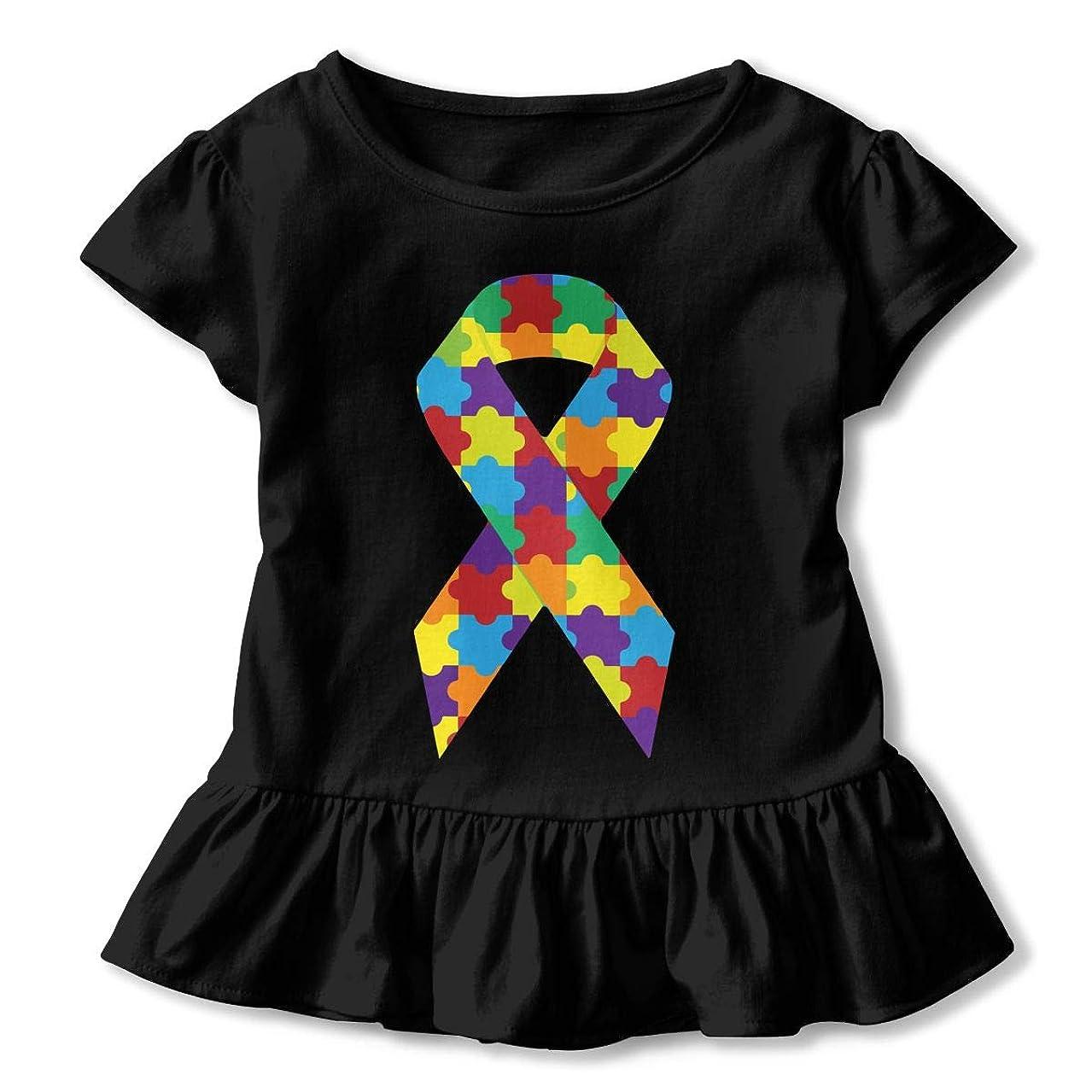 Puzzle Game Autism Day Kids Girls Short Sleeve T-Shirts Ruffles Shirt Tee