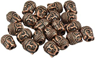 Pendant Elegant 20pcs 3D Buddha Beads Spacer Spiritual DIY Jewelry for Necklace Earrings,Colour Name:Red Copper (Color : Red Copper)