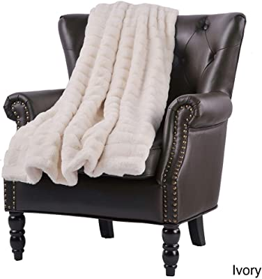 1 Piece Luxurious Casual Ivory 50x60 Throw Blanket, Modern Style Gorgeous Solid Color Stripe Pattern Super Mink Blanket All Seasons Contemporary Faux Fur Warm Soft Blanket Animal-Friendly