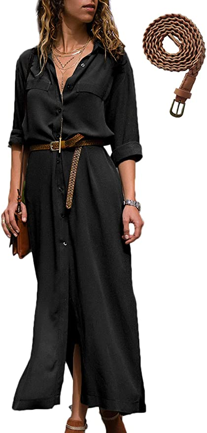 ZANZEA Women Long Sleeve Button Down Shirt Dress Casual Loose A-Line Top Dresses