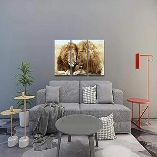 IMAX666 Tableau Multi Panneau 3 Parties Couple Animal Lion Tableau Imprimé sur Toile,Tableau Imprimé XXL,Tableau Deco Mura...