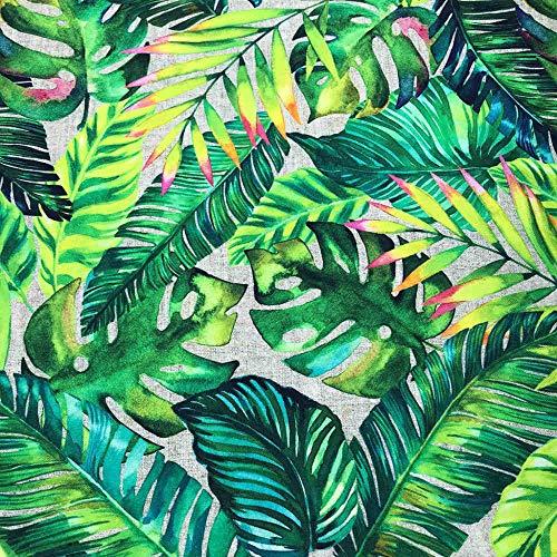 Kt KILOtela Tela por Metros de loneta Estampada Digital - Half Panamá 100% algodón - Ancho 280 cm - Largo a elección de 50 en 50 cm | Hojas Tropicales - Verde, Amarillo