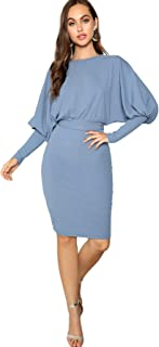 Women's Casual Business Work Ribbed Lantern Sleeve Shealth Dress