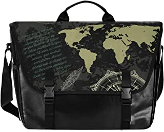 Black Map Navigation Elements bolsa de lona, unisex, de 15,6 pulgadas, retro, para negocios, bolso de hombro, bolso de mano