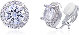 YOQUCOL Bright 8mm Cubic Zirconia Crystal Clip On Stud Round Non Pierced Earrings For Women Girls