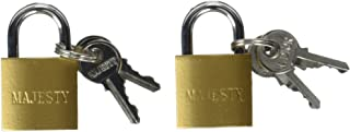"""Topzone 25mm 1"""" inch Small Mini Solid Brass Padlock with 2 Keys (Pack of 2)"""