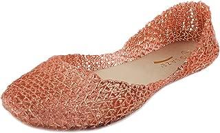 Glaze Women's Classic Comfortable Jelly Ballet Flat Design Bird Nest Layered Lines Sandals [Size 6, 7, 8, 9, 10]